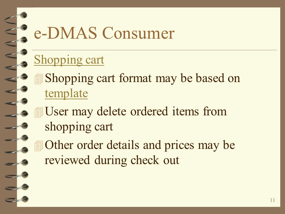 10 e-DMAS Consumer Features for inventory items...