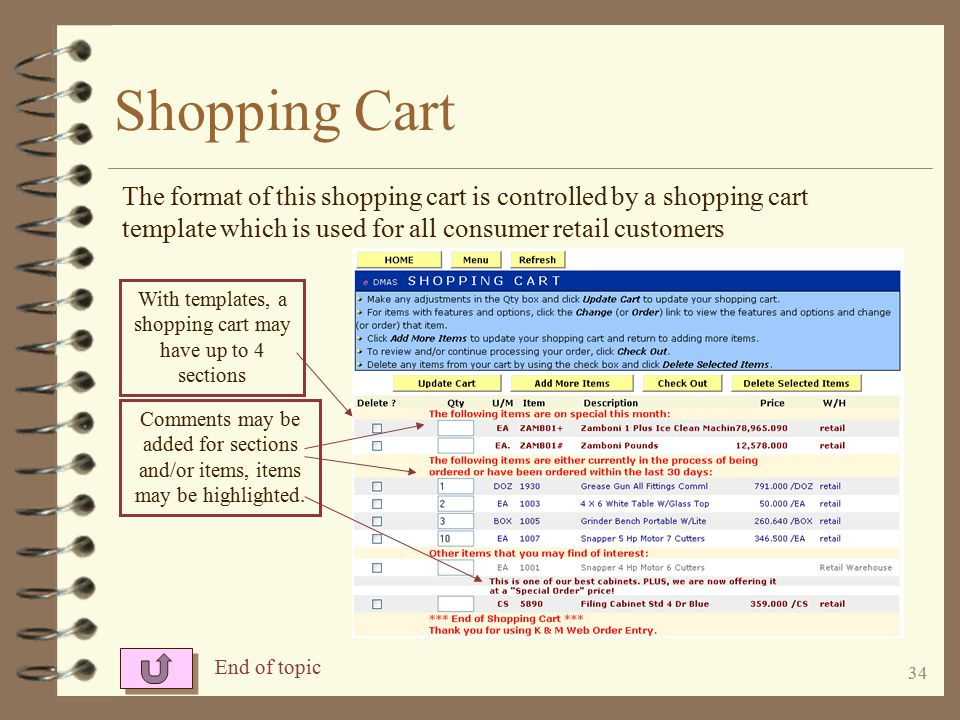 33 Shopping Cart The shopping cart shows items ordered during this session (not under format control).