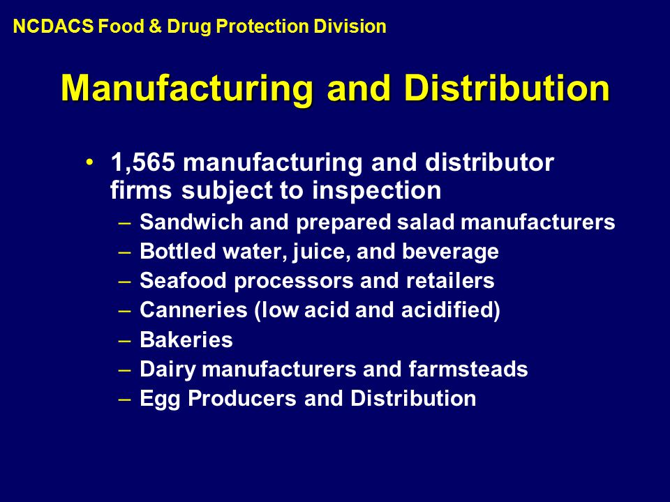 1,565 manufacturing and distributor firms subject to inspection –Sandwich and prepared salad manufacturers –Bottled water, juice, and beverage –Seafood processors and retailers –Canneries (low acid and acidified) –Bakeries –Dairy manufacturers and farmsteads –Egg Producers and Distribution Manufacturing and Distribution NCDACS Food & Drug Protection Division