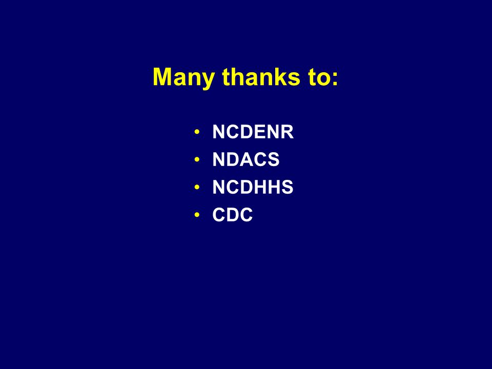 Many thanks to: NCDENR NDACS NCDHHS CDC