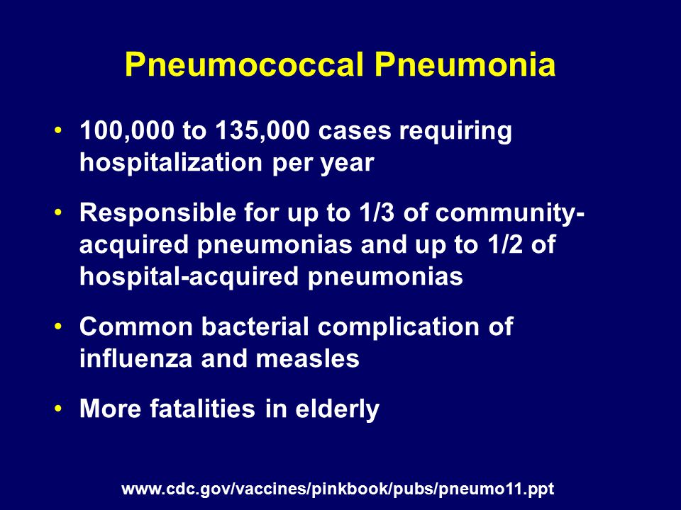 Pneumococcal Vaccines Conjugate vaccine (PCV7/PCV13) recommended for –All children aged 2–59 months –Children aged 60–71 months with certain underlying medical condition Polysaccharide vaccine (PPSV23) recommended for –All adults aged ≥65 years –Persons aged 2–64 years who are at increased risk for invasive disease