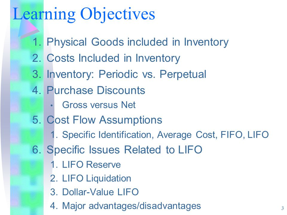 3 1.Physical Goods included in Inventory 2.Costs Included in Inventory 3.Inventory: Periodic vs.