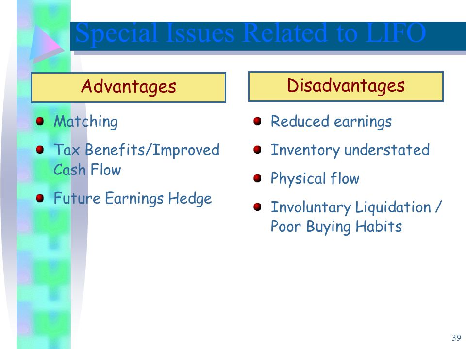 39 Matching Tax Benefits/Improved Cash Flow Future Earnings Hedge Special Issues Related to LIFO Advantages Reduced earnings Inventory understated Physical flow Involuntary Liquidation / Poor Buying Habits Disadvantages