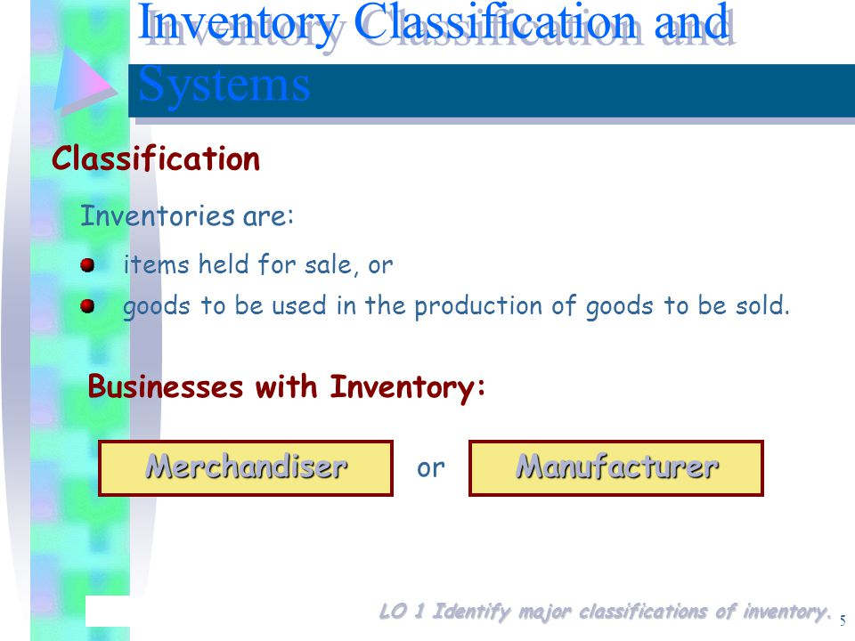 5 Inventories are: items held for sale, or goods to be used in the production of goods to be sold.