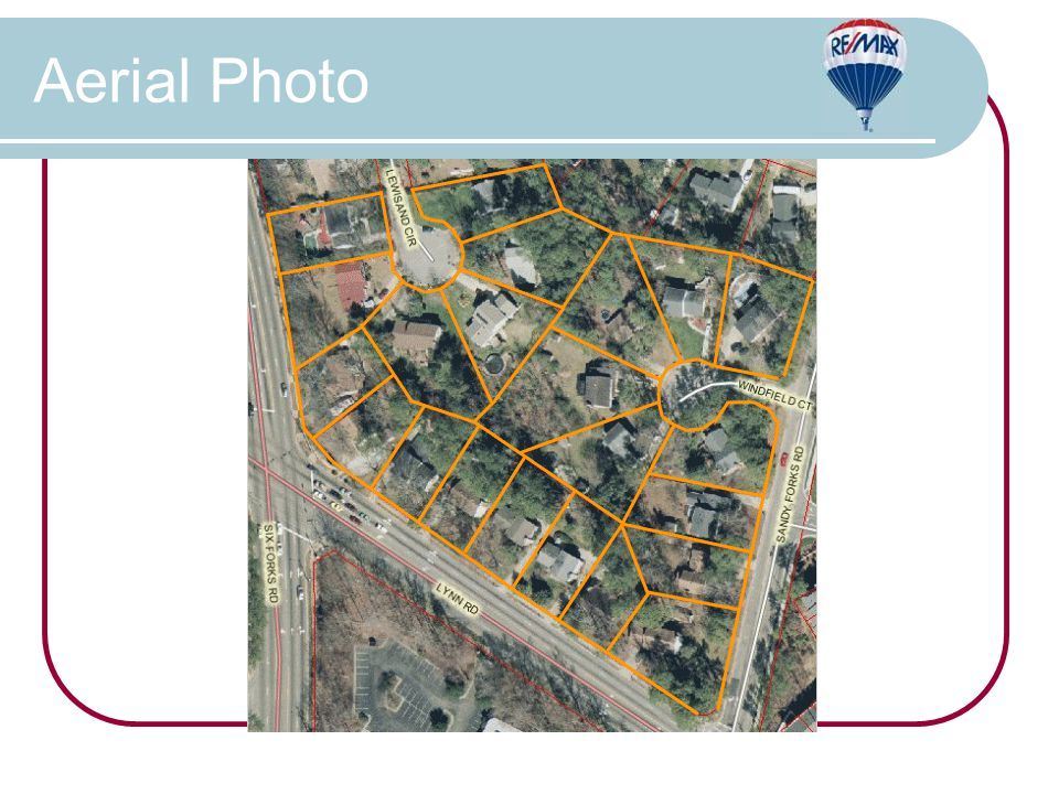 FEATURES Twenty two properties, totaling 6.67 acres, over 7 acres if you include road right-of-way Ideal mixed use development on a prime intersection in the heart of North Raleigh All utilities available Tremendous demographics Six Forks Road/Lynn Road ADT: 35,000 (2007) Spring Forest Road/Sandy Forks Road ADT: 18,000 (2007) Assemblage Overview The information contained herein was obtained from sources believed reliable; however RE/MAX One Realty & Marti Hampton make no guarantees, warranties, or representations as to the completeness or accuracy thereof.