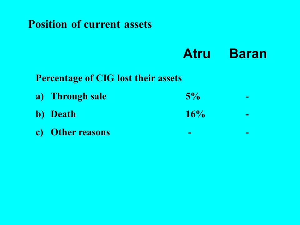CIG PERFORMANCE A)Percentage of groups earning a net incomeAtruBaran i)Rs.