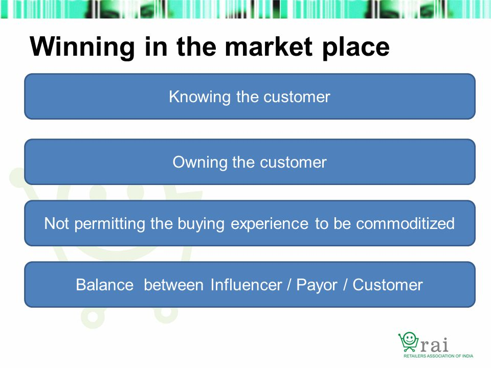 Winning in the market place Knowing the customer Owning the customer Not permitting the buying experience to be commoditized Balance between Influencer / Payor / Customer