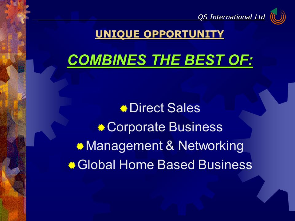 COMBINES THE BEST OF:  Direct Sales  Corporate Business  Management & Networking  Global Home Based Business UNIQUE OPPORTUNITY QS International L