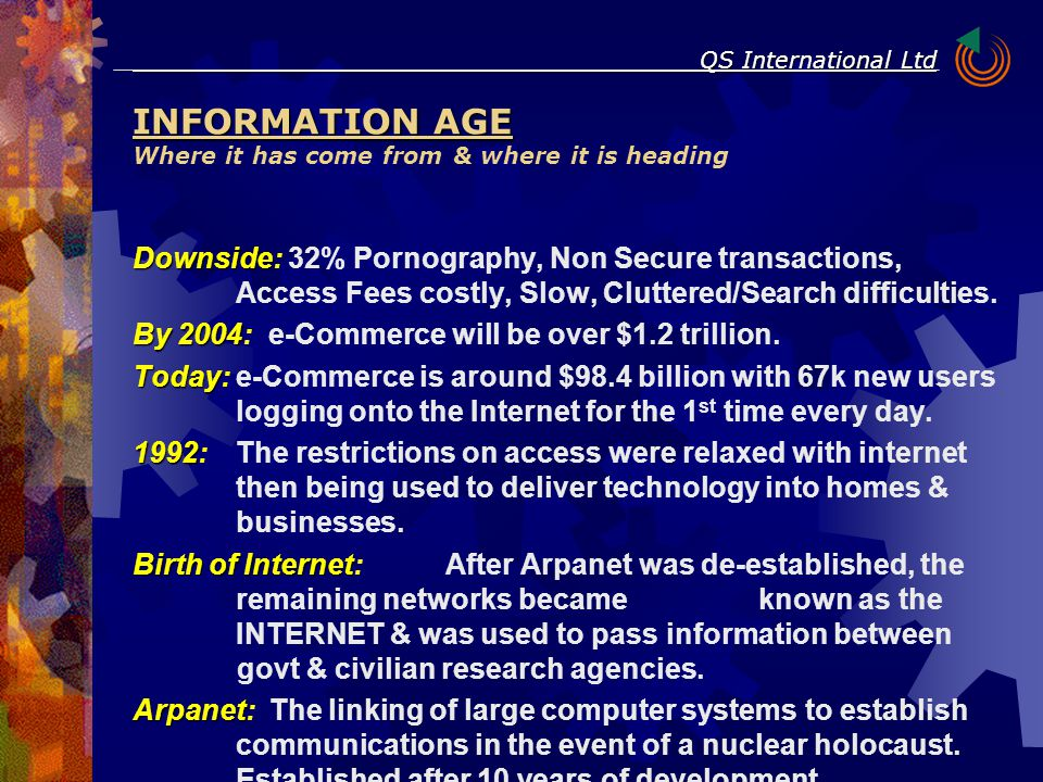 QS International Ltd Downside Downside: 32% Pornography, Non Secure transactions, Access Fees costly, Slow, Cluttered/Search difficulties. By 2004 By