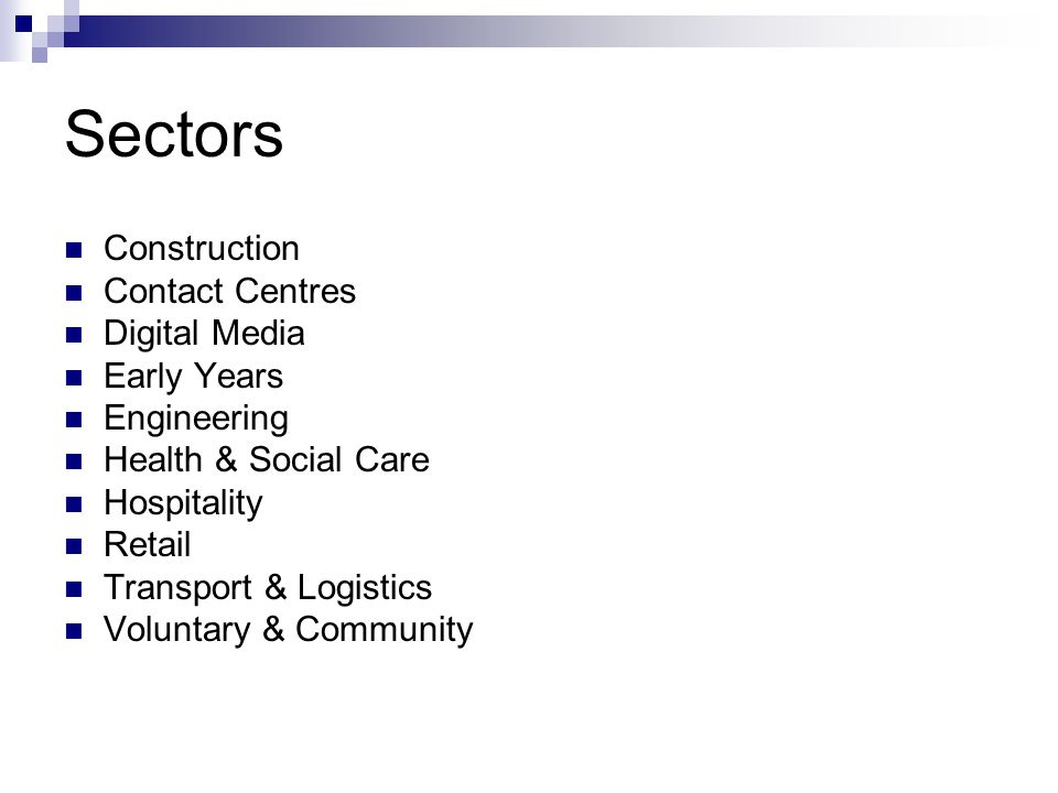 Sectors Construction Contact Centres Digital Media Early Years Engineering Health & Social Care Hospitality Retail Transport & Logistics Voluntary & C