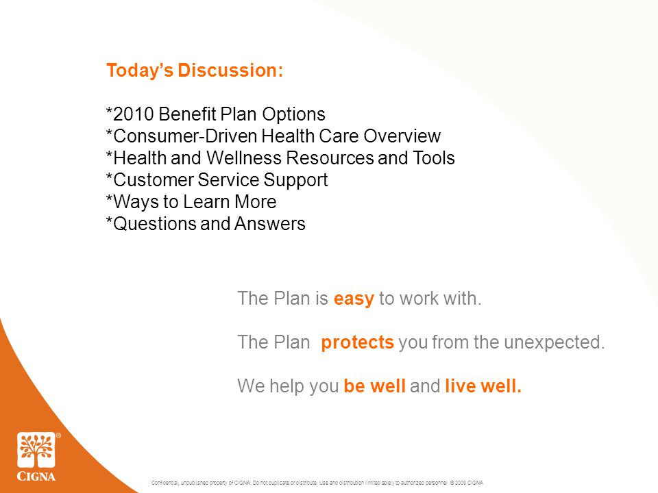 2 Today's Discussion: *2010 Benefit Plan Options *Consumer-Driven Health Care Overview *Health and Wellness Resources and Tools *Customer Service Support *Ways to Learn More *Questions and Answers The Plan is easy to work with.