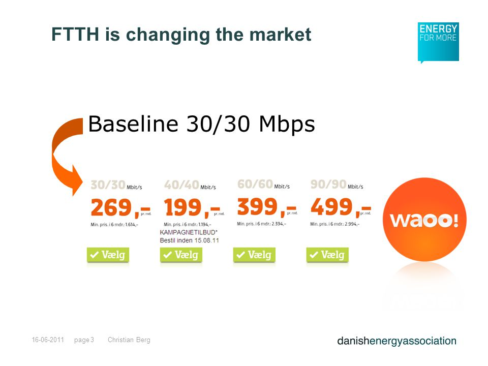 page16-06-2011Christian Berg3 Baseline 30/30 Mbps FTTH is changing the market