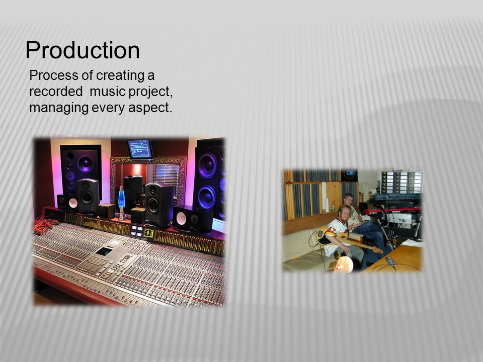 Production Process of creating a recorded music project, managing every aspect.