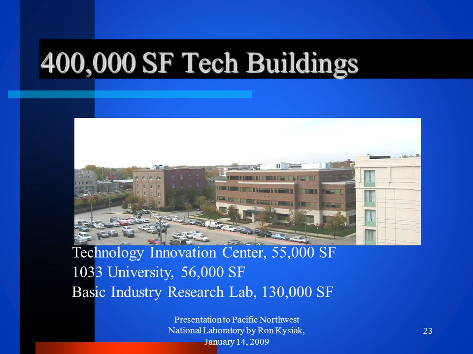 400,000 SF Tech Buildings Presentation to Pacific Northwest National Laboratory by Ron Kysiak, January 14, 2009 23 Technology Innovation Center, 55,00