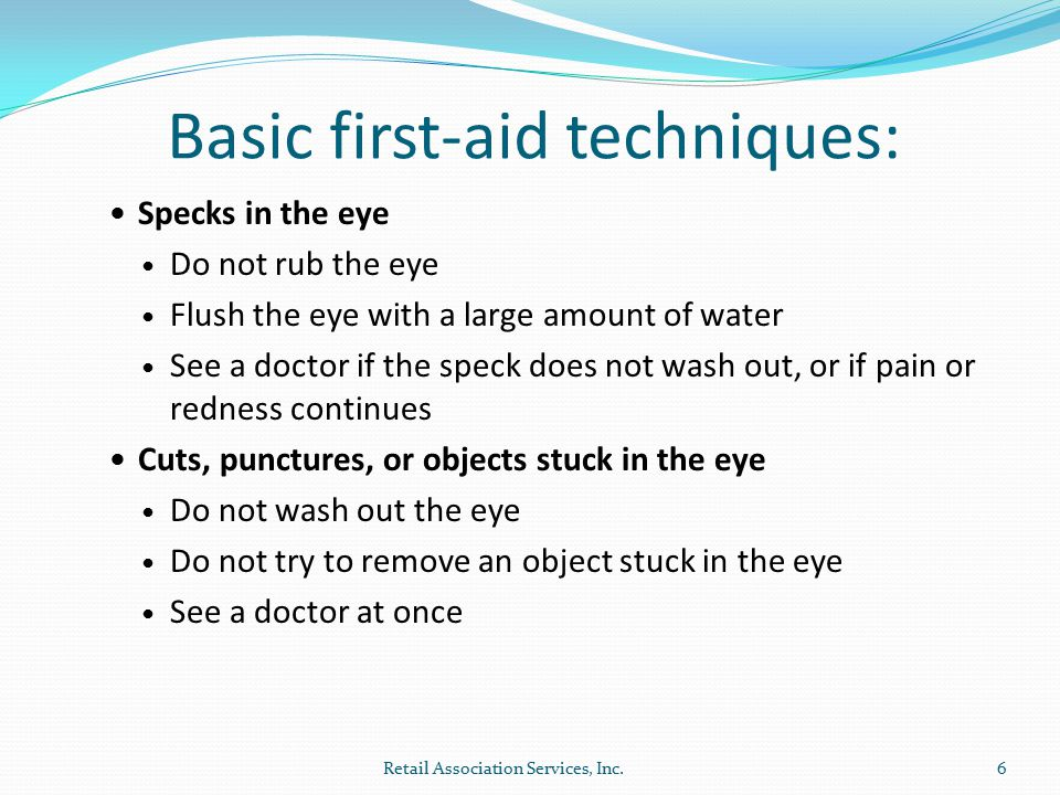 Chemical burns Flush the eye immediately with water and continue flushing for at least 15 minutes.