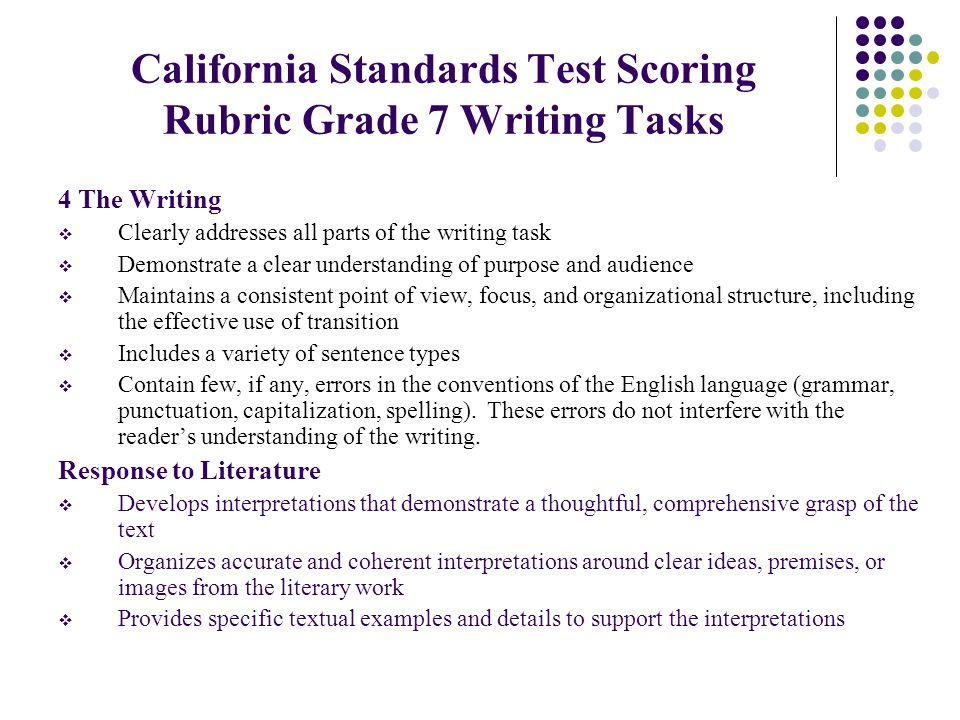 California Standards Test Scoring Rubric Grade 7 Writing Tasks 4 The Writing  Clearly addresses all parts of the writing task  Demonstrate a clear understanding of purpose and audience  Maintains a consistent point of view, focus, and organizational structure, including the effective use of transition  Includes a variety of sentence types  Contain few, if any, errors in the conventions of the English language (grammar, punctuation, capitalization, spelling).