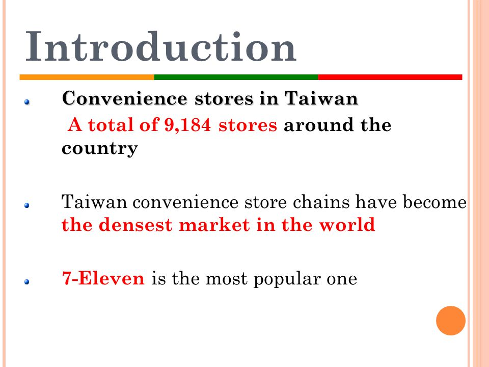 Introduction Convenience stores in Taiwan A total of 9,184 stores around the country Taiwan convenience store chains have become the densest market in