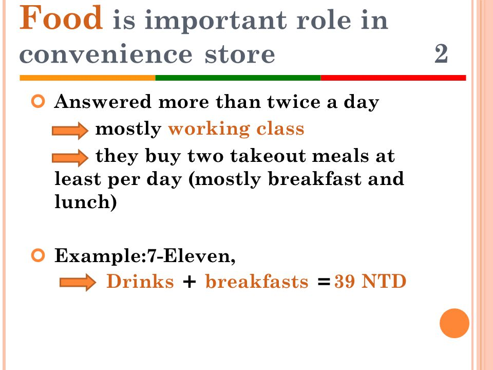 Answered more than twice a day mostly working class they buy two takeout meals at least per day (mostly breakfast and lunch) Example:7-Eleven, Drinks