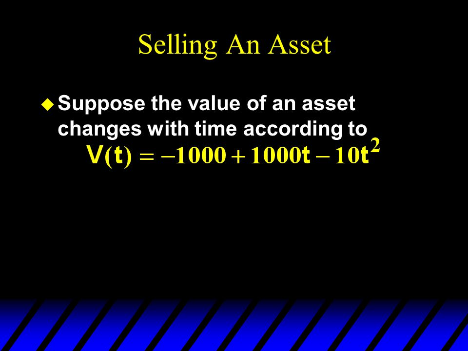 Selling An Asset u What is the payoff at year 50 from selling at year 10 and then investing the $8,000 at 10% per year for the remaining 40 years?