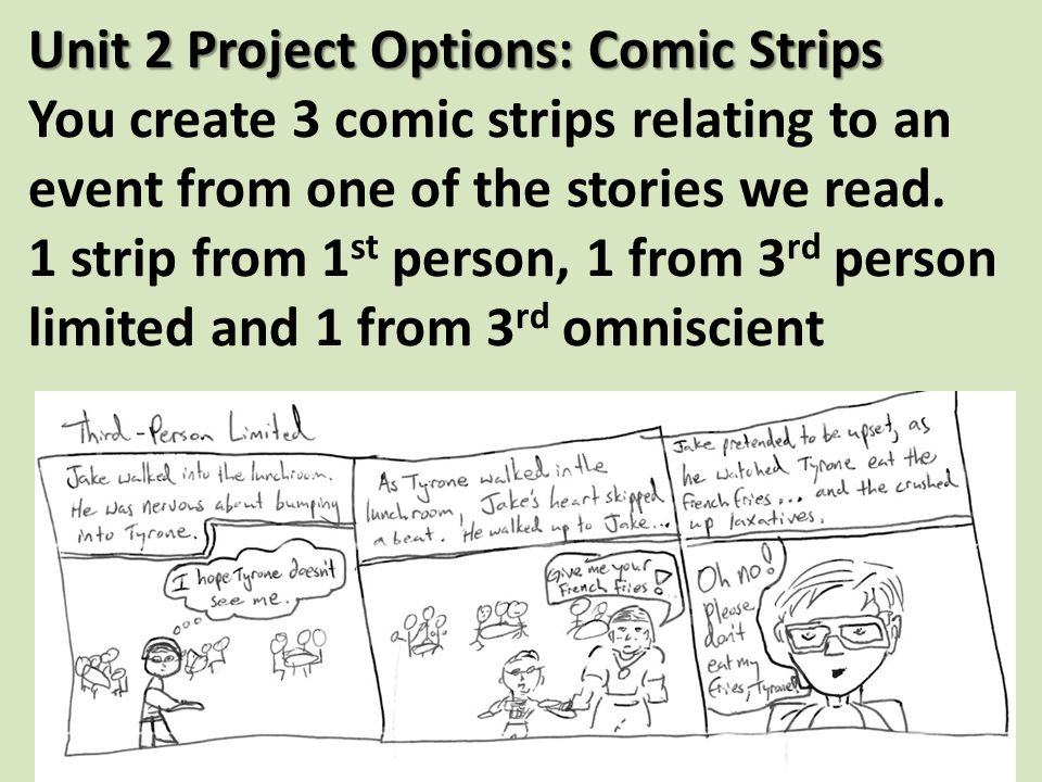 Unit 2 Project Options: Comic Strips Unit 2 Project Options: Comic Strips You create 3 comic strips relating to an event from one of the stories we read.