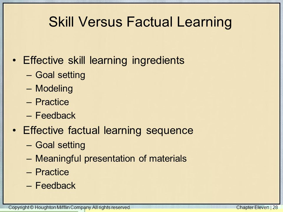 Copyright © Houghton Mifflin Company. All rights reserved.Chapter Eleven | 28 Skill Versus Factual Learning Effective skill learning ingredients –Goal