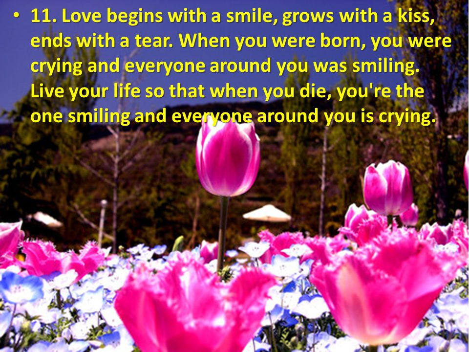11. Love begins with a smile, grows with a kiss, ends with a tear. When you were born, you were crying and everyone around you was smiling. Live your