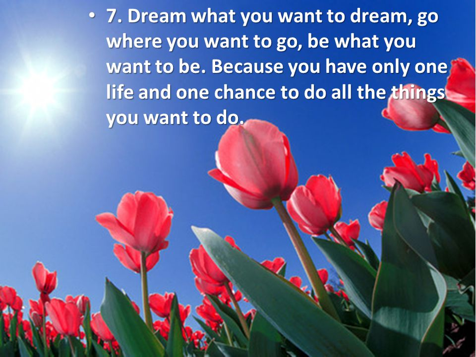 7. Dream what you want to dream, go where you want to go, be what you want to be. Because you have only one life and one chance to do all the things y