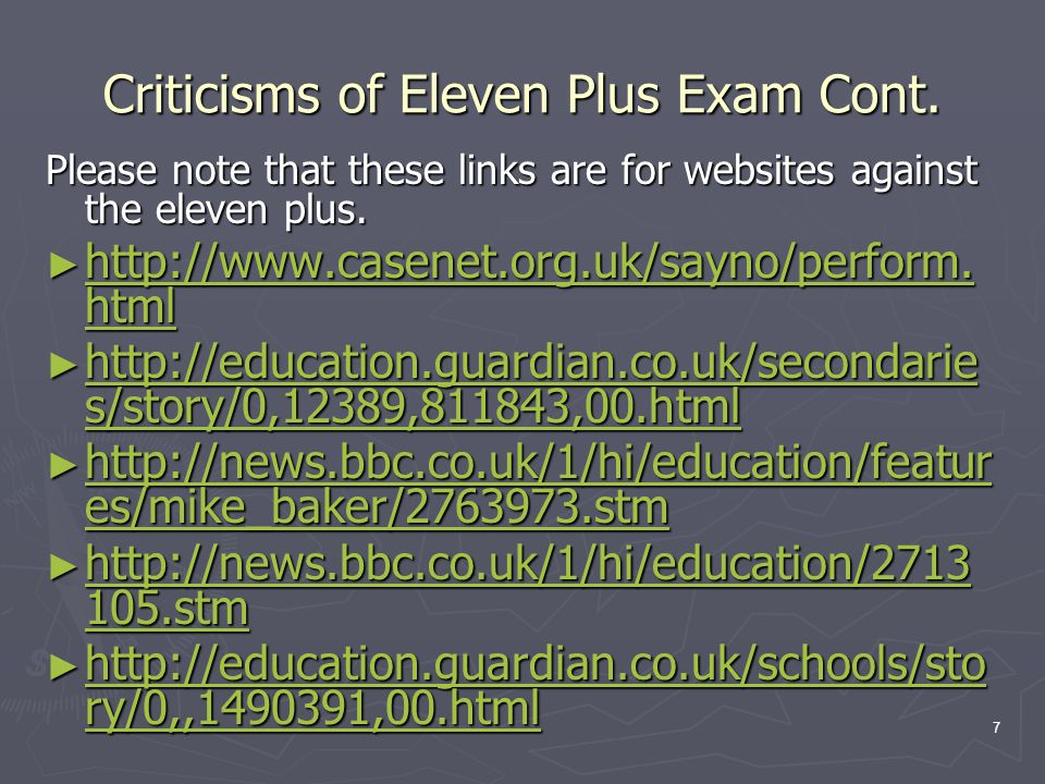 7 Criticisms of Eleven Plus Exam Cont.