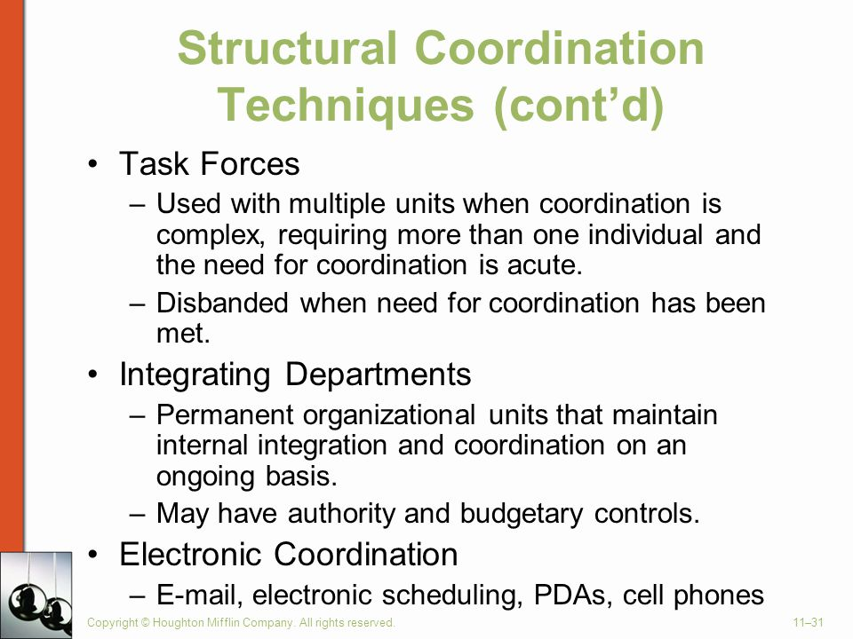 Copyright © Houghton Mifflin Company. All rights reserved.11–31 Structural Coordination Techniques (cont'd) Task Forces –Used with multiple units when