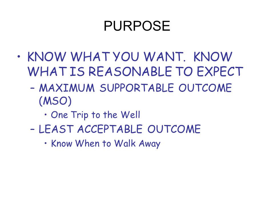 PURPOSE KNOW WHAT YOU WANT.