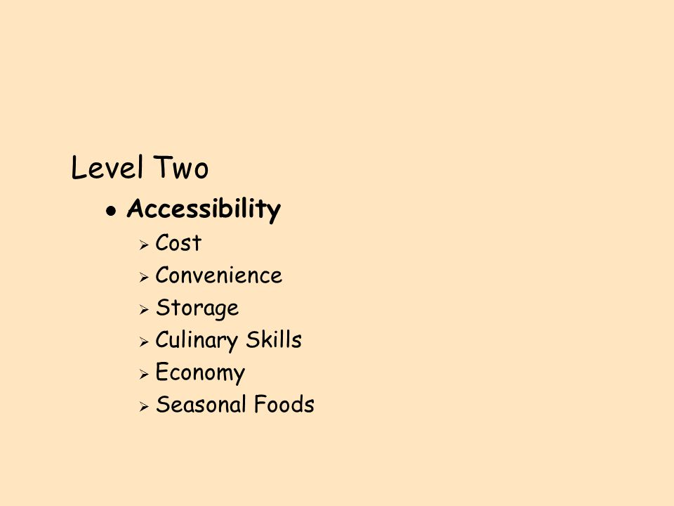 Level Three l Environment  Goal of Care  Personal History  Cultural Diversity  Perceptions of children's food choices
