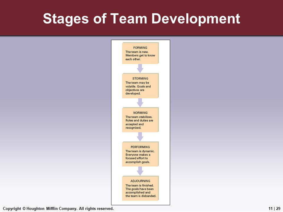 Copyright © Houghton Mifflin Company. All rights reserved.11 | 29 Stages of Team Development