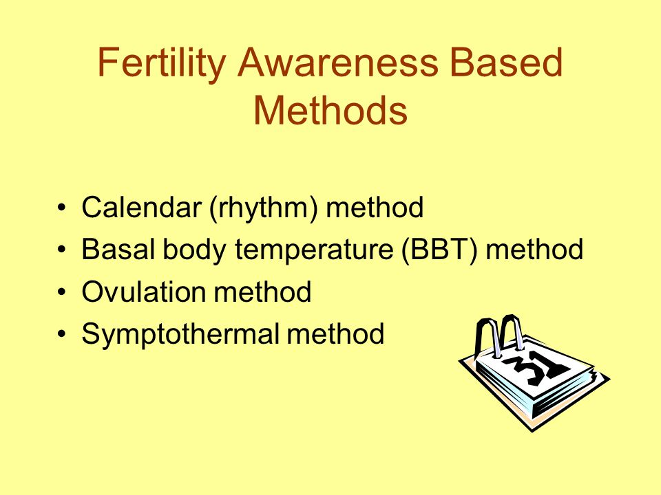 Fertility Awareness Based Methods Calendar (rhythm) method Basal body temperature (BBT) method Ovulation method Symptothermal method
