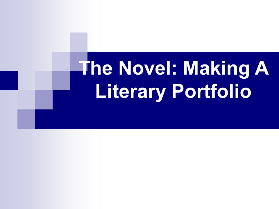 The Novel: Making A Literary Portfolio