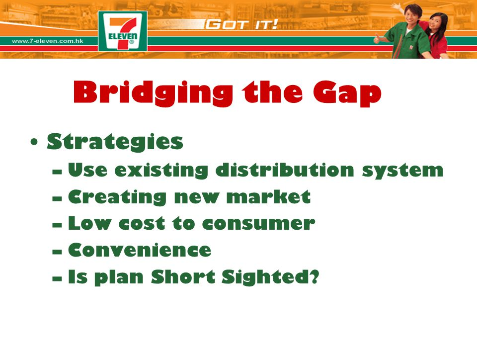 Bridging the Gap Strategies –Use existing distribution system –Creating new market –Low cost to consumer –Convenience –Is plan Short Sighted?