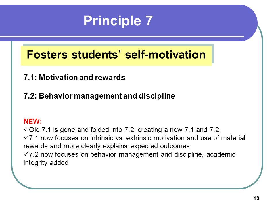 12 Offers a meaningful and challenging academic curriculum that respects all learners 6.1: Challenging curriculum 6.2: Meeting student needs 6.3: Performance character NEW: 6.1: Students are challenged and have voice and choice 6.2: Teachers identify needs and differentiate; schools work to close achievement gap 6.3: Performance character clarified; academic integrity added Principle 6