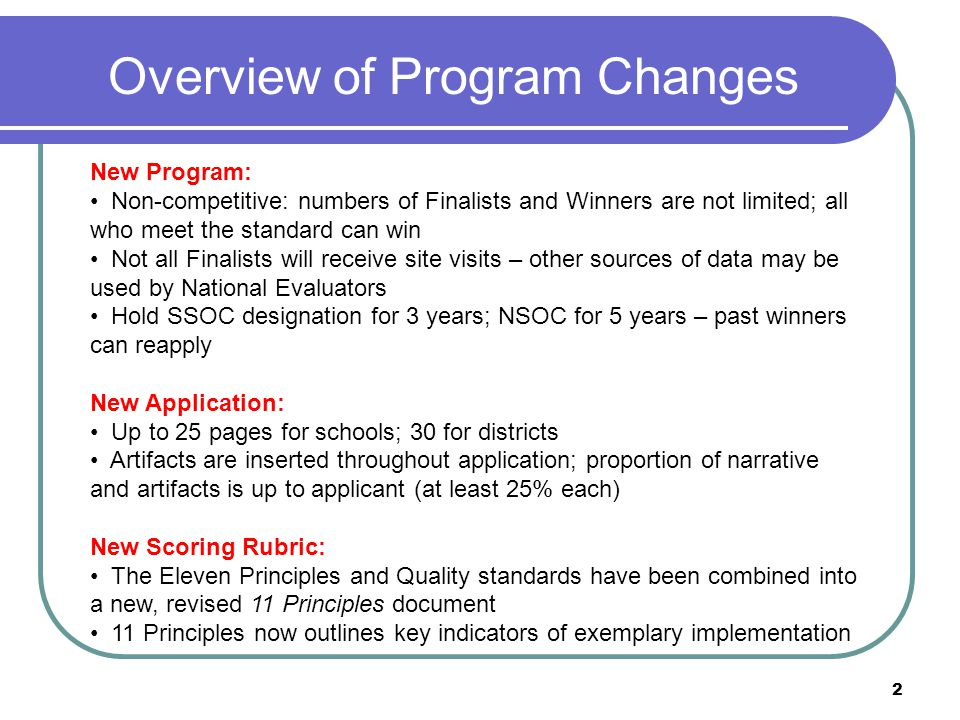 CEP's State and National Schools of Character Summary of 2011 Program Changes