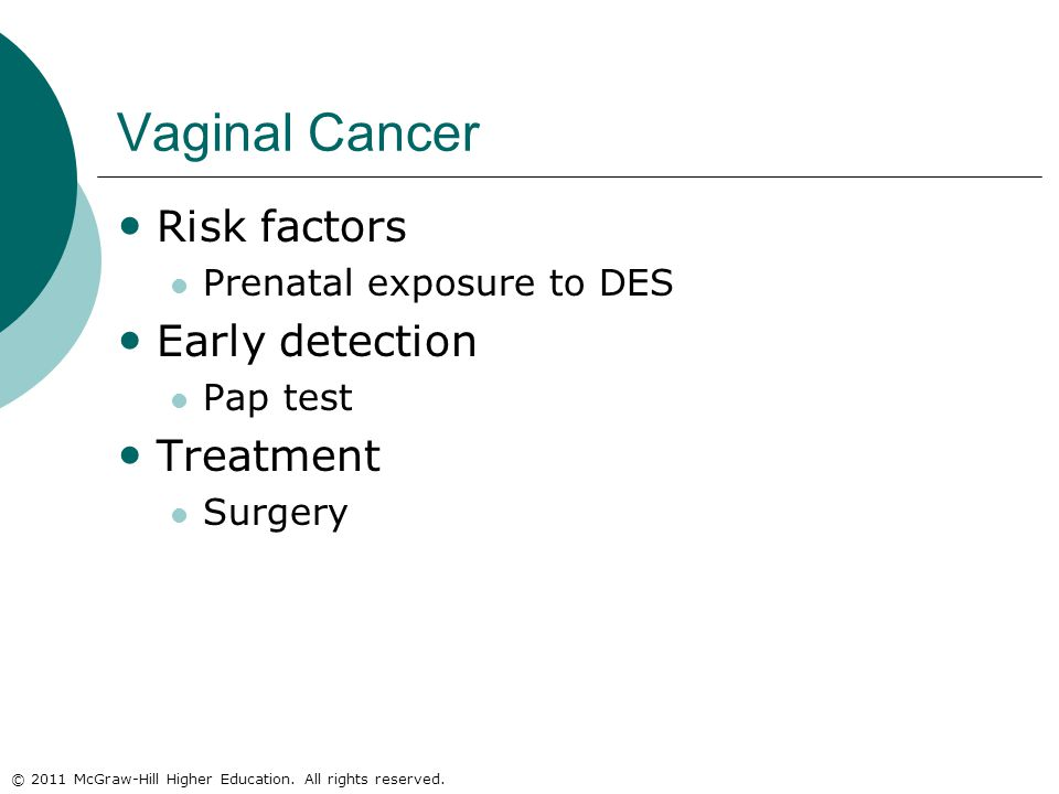 © 2011 McGraw-Hill Higher Education. All rights reserved. Vaginal Cancer Risk factors Prenatal exposure to DES Early detection Pap test Treatment Surg