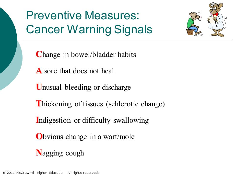 © 2011 McGraw-Hill Higher Education. All rights reserved. C C hange in bowel/bladder habits A A sore that does not heal U U nusual bleeding or dischar