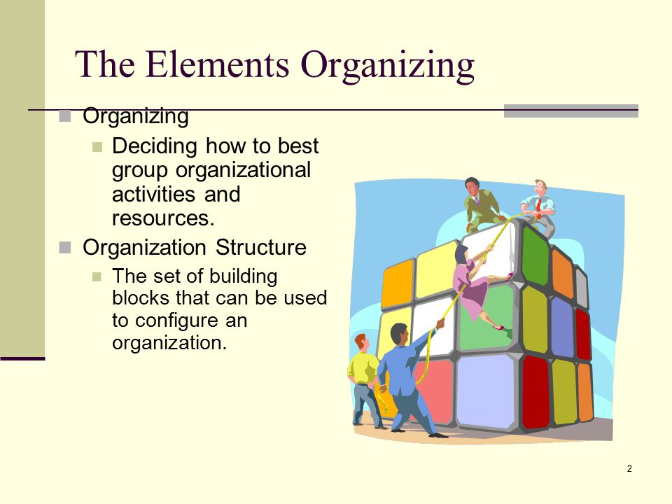 2 The Elements Organizing Organizing Deciding how to best group organizational activities and resources.