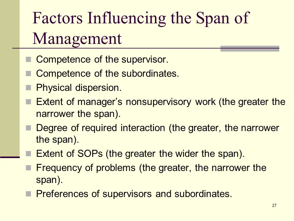27 Factors Influencing the Span of Management Competence of the supervisor.