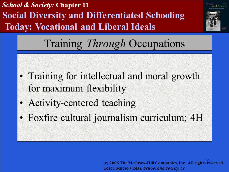 10 School & Society: Chapter 11 Social Diversity and Differentiated Schooling Today: Vocational and Liberal Ideals Training Through Occupations Training for intellectual and moral growth for maximum flexibility Activity-centered teaching Foxfire cultural journalism curriculum; 4H (c) 2006 The McGraw-Hill Companies, Inc.