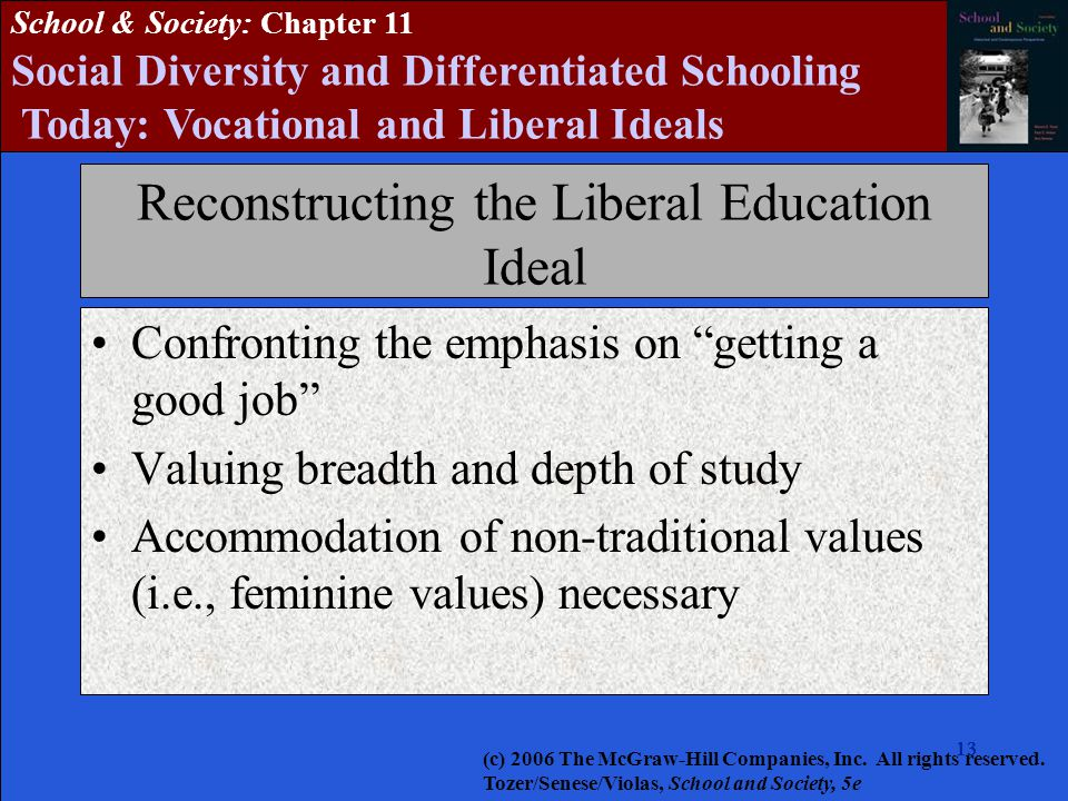 13 School & Society: Chapter 11 Social Diversity and Differentiated Schooling Today: Vocational and Liberal Ideals Reconstructing the Liberal Education Ideal Confronting the emphasis on getting a good job Valuing breadth and depth of study Accommodation of non-traditional values (i.e., feminine values) necessary (c) 2006 The McGraw-Hill Companies, Inc.