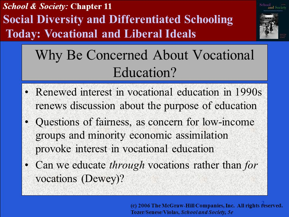 222222 School & Society: Chapter 11 Social Diversity and Differentiated Schooling Today: Vocational and Liberal Ideals Why Be Concerned About Vocational Education.