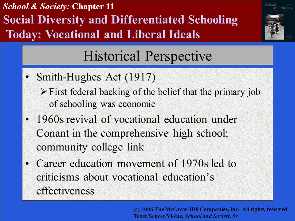 333333 School & Society: Chapter 11 Social Diversity and Differentiated Schooling Today: Vocational and Liberal Ideals Historical Perspective Smith-Hughes Act (1917)  First federal backing of the belief that the primary job of schooling was economic 1960s revival of vocational education under Conant in the comprehensive high school; community college link Career education movement of 1970s led to criticisms about vocational education's effectiveness (c) 2006 The McGraw-Hill Companies, Inc.