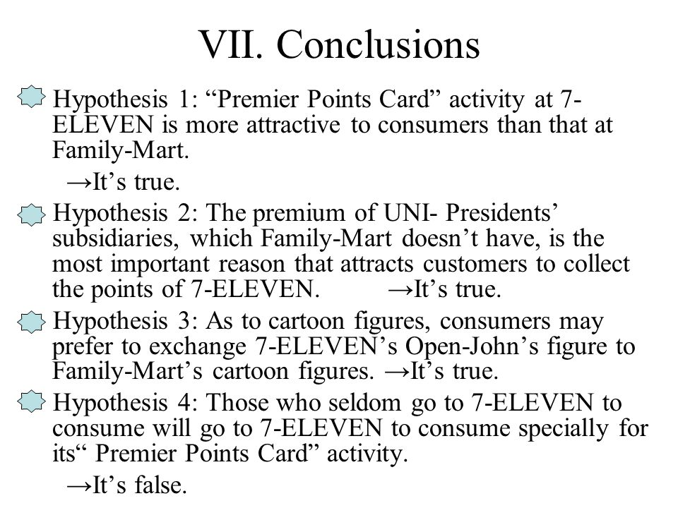 "VII. Conclusions Hypothesis 1: ""Premier Points Card"" activity at 7- ELEVEN is more attractive to consumers than that at Family-Mart. →It's true. Hypot"