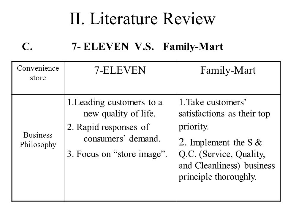 Why is 7-ELEVEN more success.–Family-Mart is a follower.