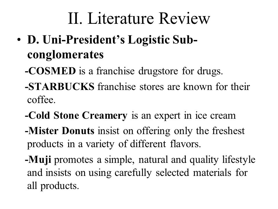 Integrate the channels Uni-President will have unmatchable competitive edge since they include Starbucks, Mister Donut, and Cosmed into collecting point promotion.