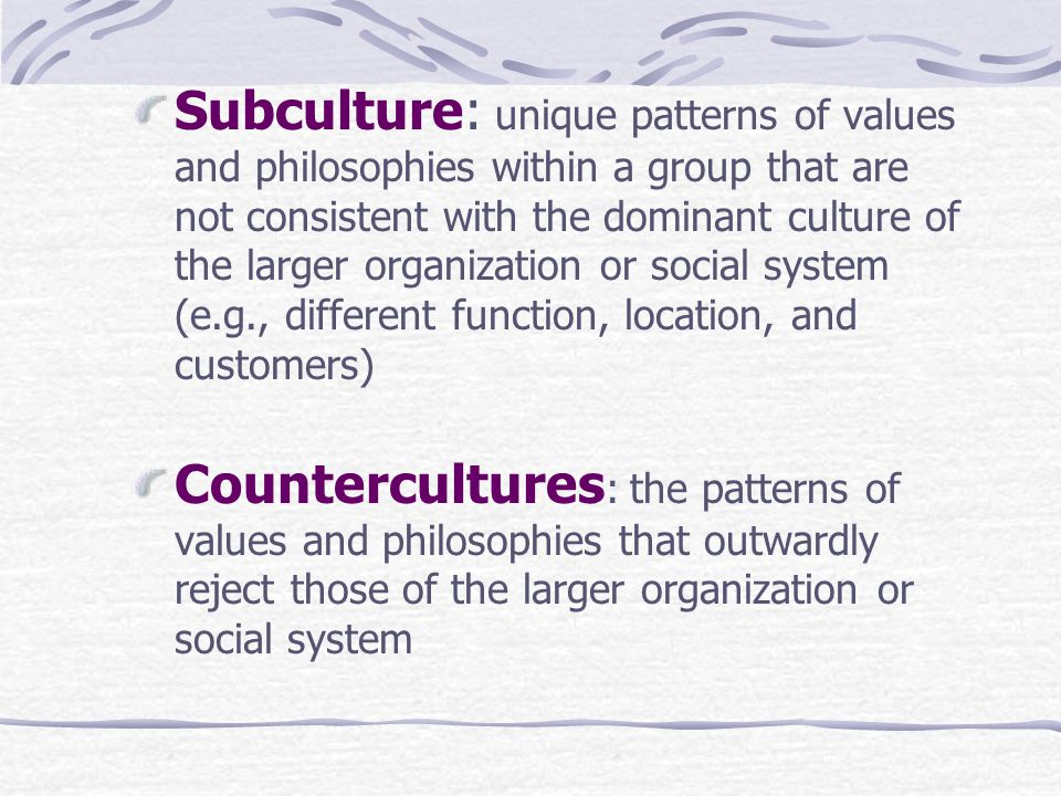 Subculture: unique patterns of values and philosophies within a group that are not consistent with the dominant culture of the larger organization or social system (e.g., different function, location, and customers) Countercultures : the patterns of values and philosophies that outwardly reject those of the larger organization or social system