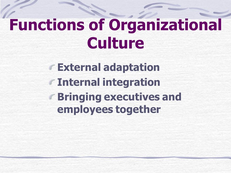 Functions of Organizational Culture External adaptation Internal integration Bringing executives and employees together